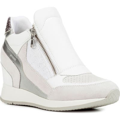 Geox Nydame Wedge Sneaker, White