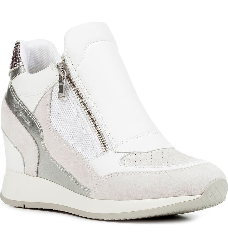GEOX Nydame Wedge Sneaker, Main, color, WHITE LEATHER