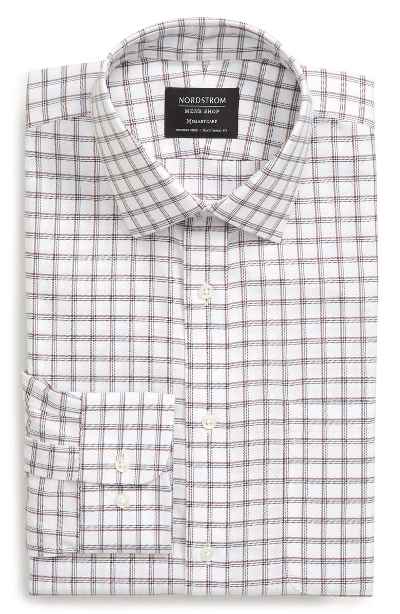 NORDSTROM MEN'S SHOP Smartcare<sup>™</sup> Traditional Fit Plaid Dress Shirt, Main, color, BROWN NUTMEG