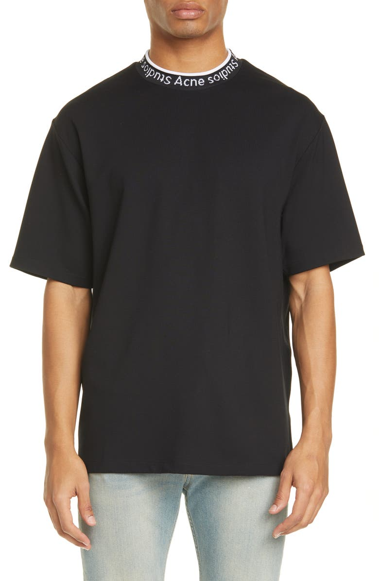 ACNE STUDIOS Extorr Logo Crewneck T-Shirt, Main, color, 001