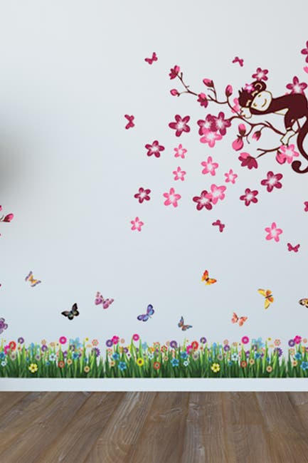 Image of WalPlus Grass & Pink Monkey Tree Wall Sticker Set