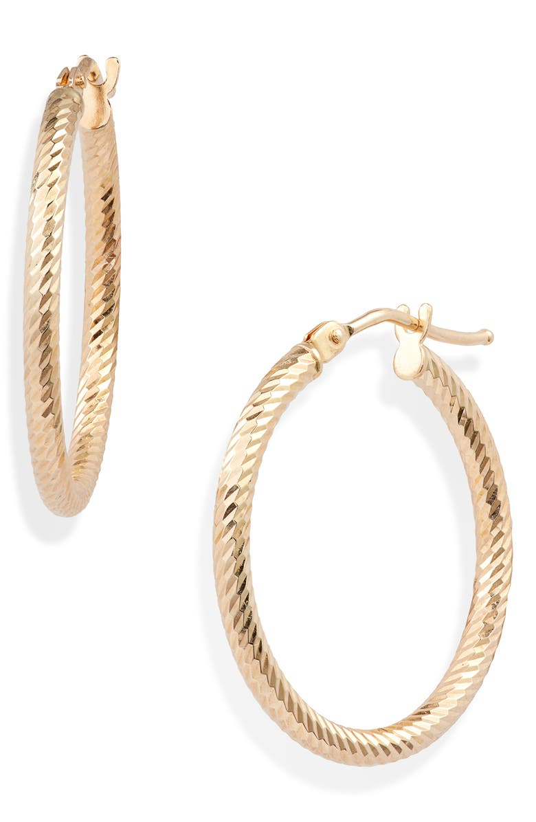 BONY LEVY 14K Gold Twisted Rope Hoop Earrings, Main, color, YELLOW GOLD