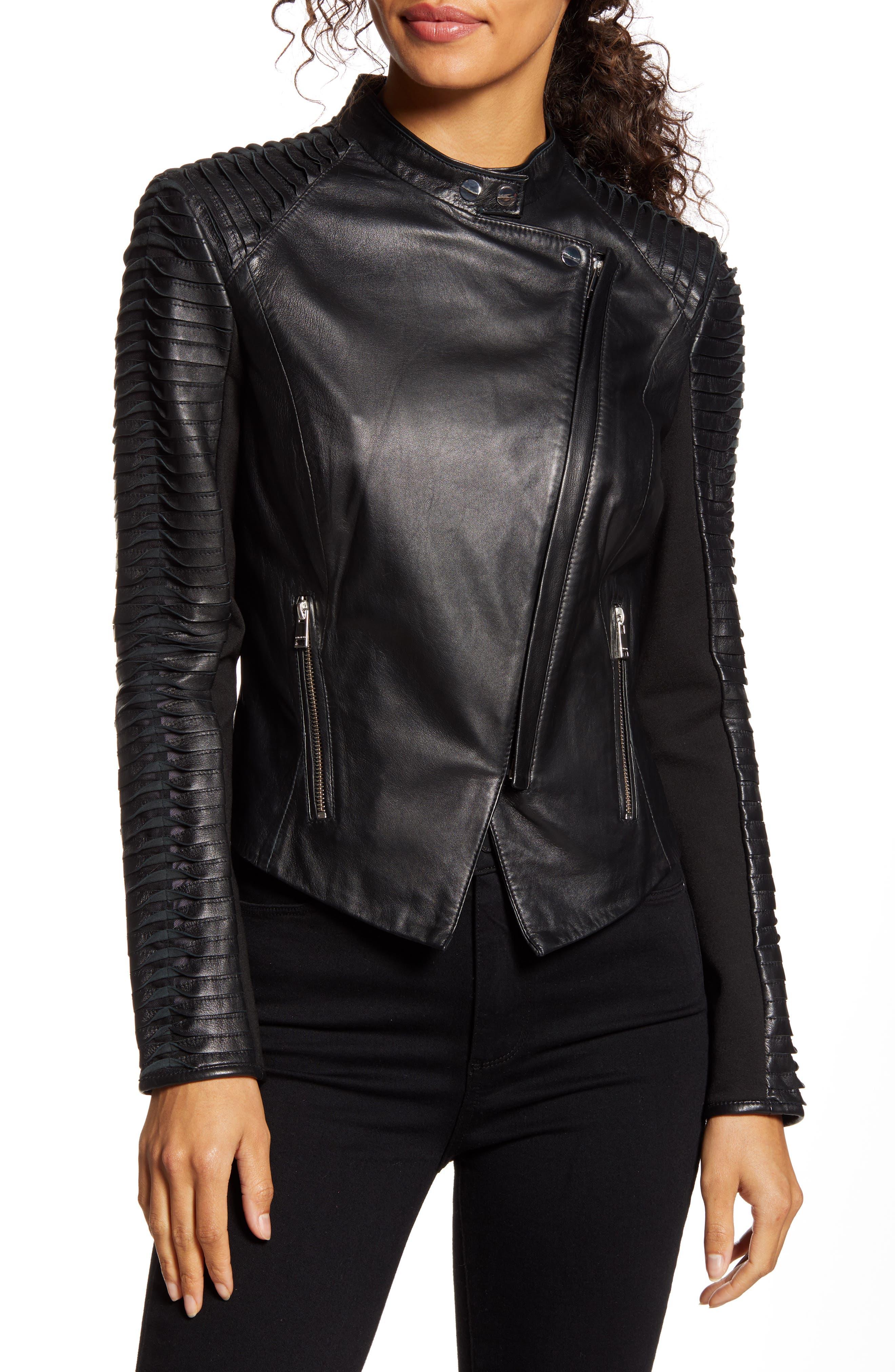 LAMARQUE Azra Statement Sleeve Leather Moto Jacket