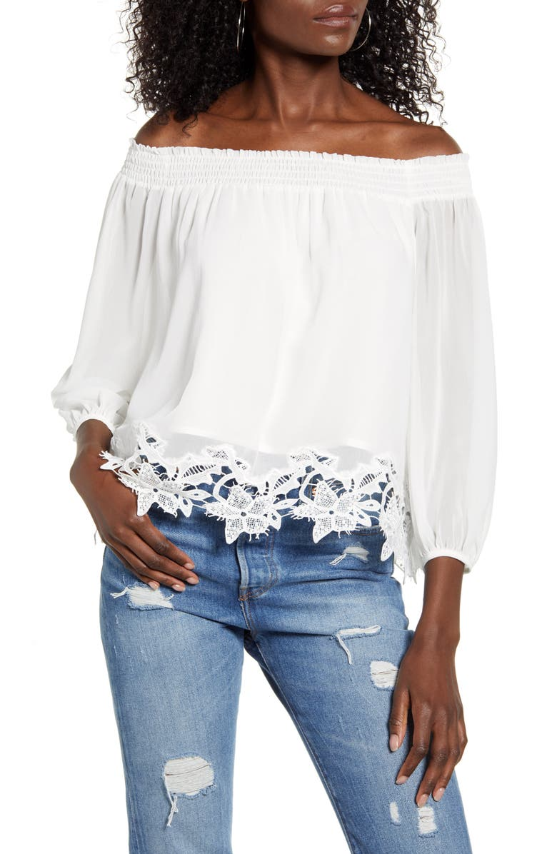 ALL IN FAVOR Lace Hem Off the Shoulder Top, Main, color, OFF WHITE