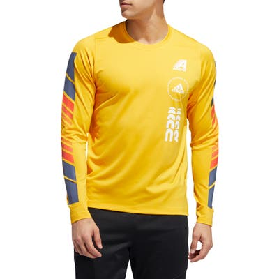 Adidas Moto Pack Freelift Long Sleeve T-Shirt, Yellow