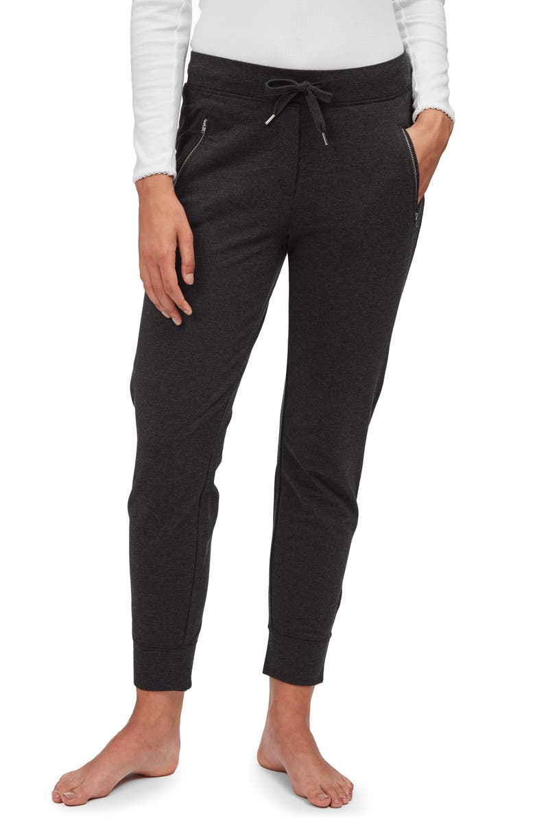 THE WHITE COMPANY Zip Detail Jersey Joggers, Main, color, DARK CHARCOAL MARL
