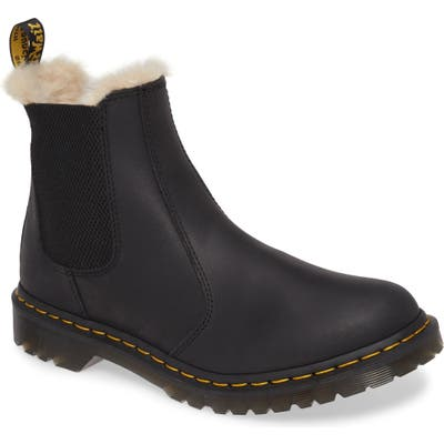 Dr. Martens 2976 Faux Shearling Chelsea Boot, Black