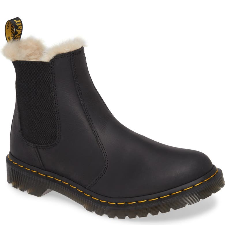 DR. MARTENS 2976 Faux Shearling Chelsea Boot, Main, color, 001