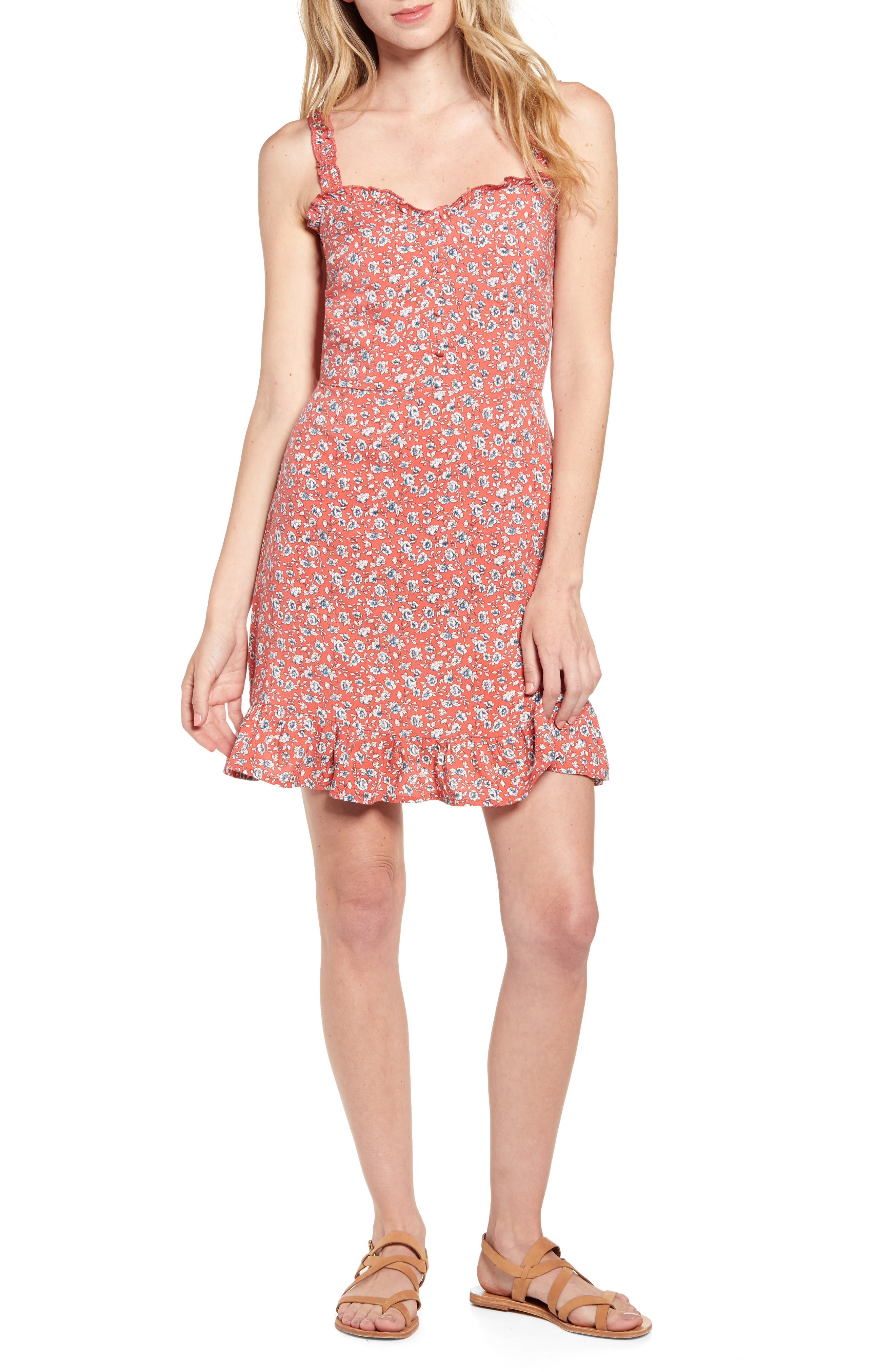 Band Of Gypsies Daisy Floral Print Sundress, Coral