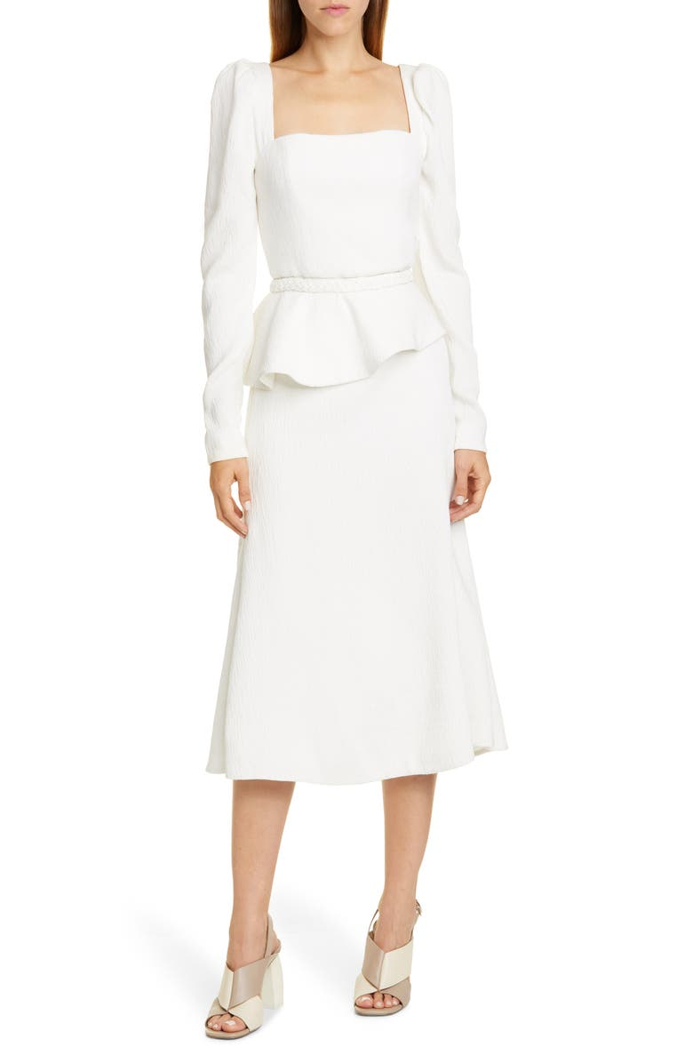 JOHANNA ORTIZ Crinkle Long Sleeve Midi Dress with Removable Peplum, Main, color, ECRU