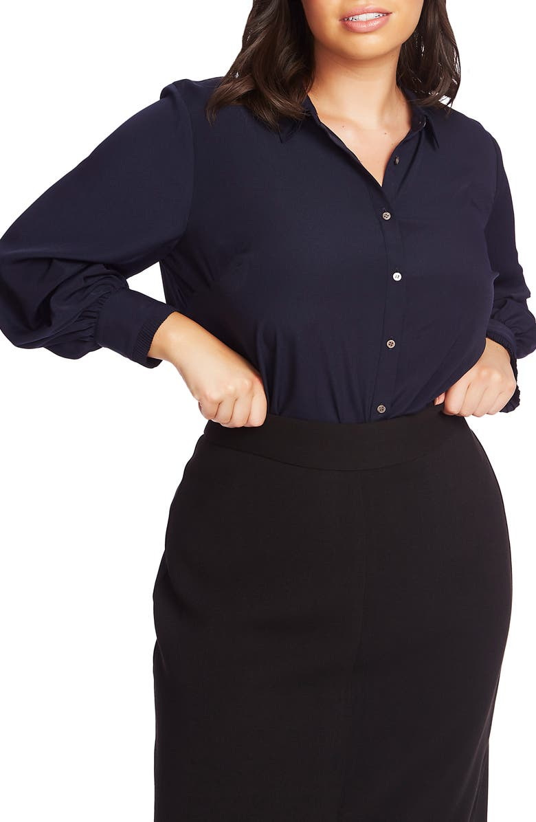 COURT & ROWE Ruffle Cuff Blouse, Main, color, BLUE NIGHT