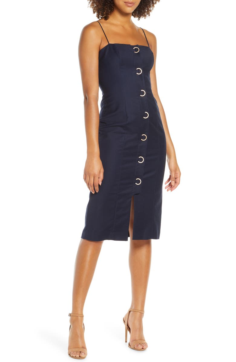 FINDERS KEEPERS Rae Crescent Button Sleeveless Sheath Dress, Main, color, NAVY