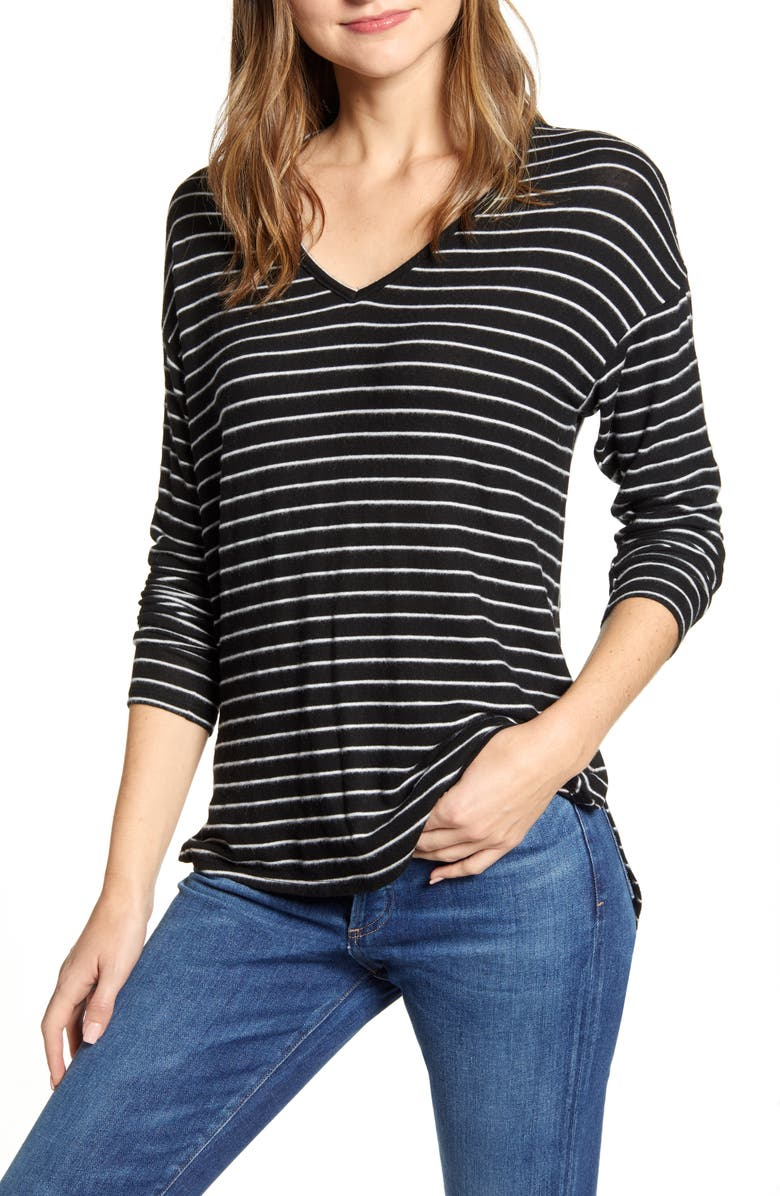 GIBSON Cozy V-Neck Top, Main, color, BLACK IVORY STRIPE