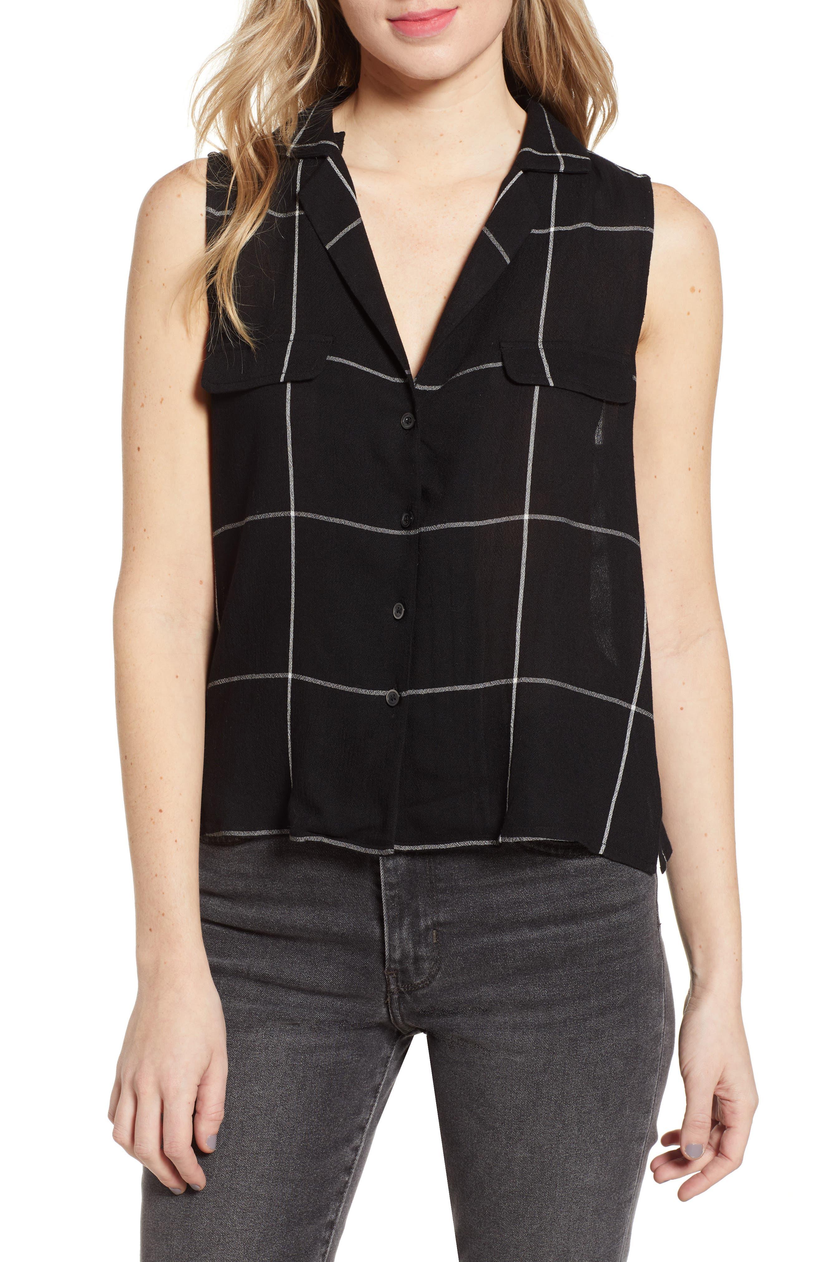 ,                             Sleeveless Shirt,                             Main thumbnail 1, color,                             BLACK MAZY WINDOW PANE