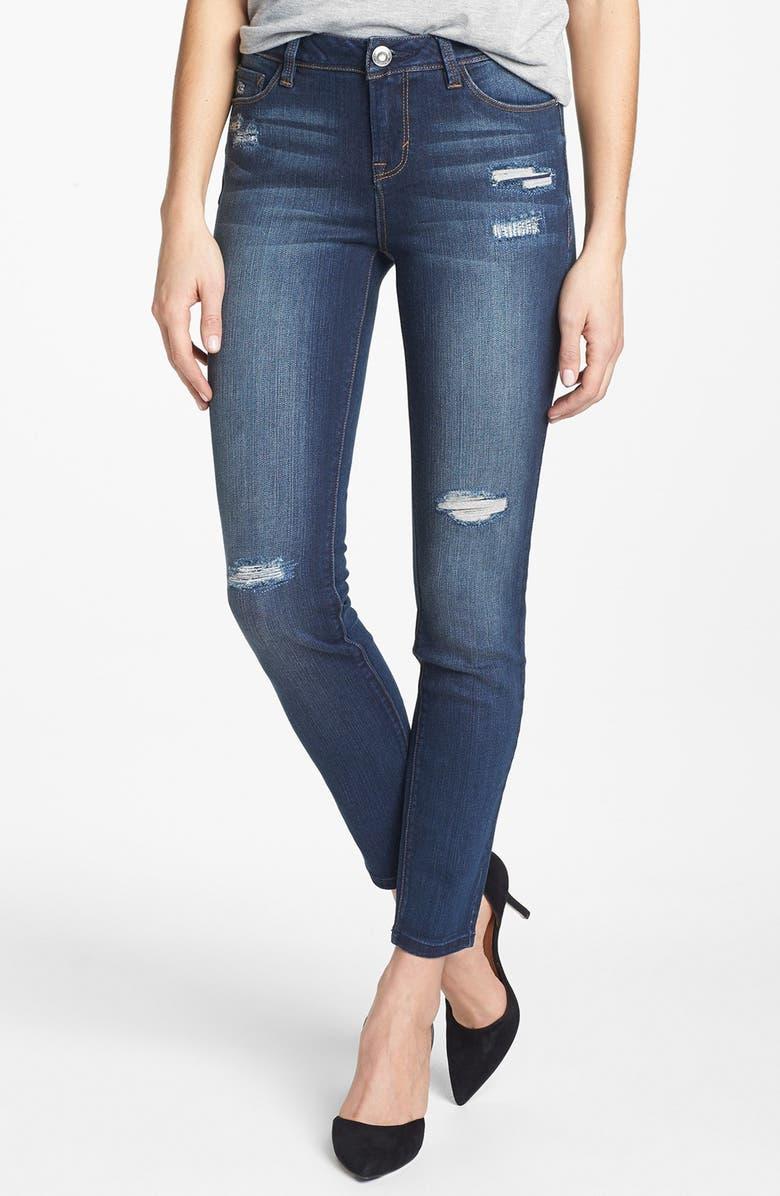 KENSIE 'Ankle Biter' Destroyed Skinny Jeans, Main, color, 401