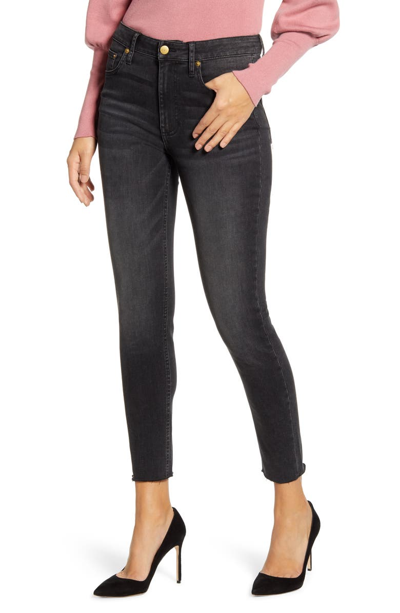 RACHEL PARCELL Raw Hem Skinny Ankle Jeans, Main, color, BLACK INDIGO WASH