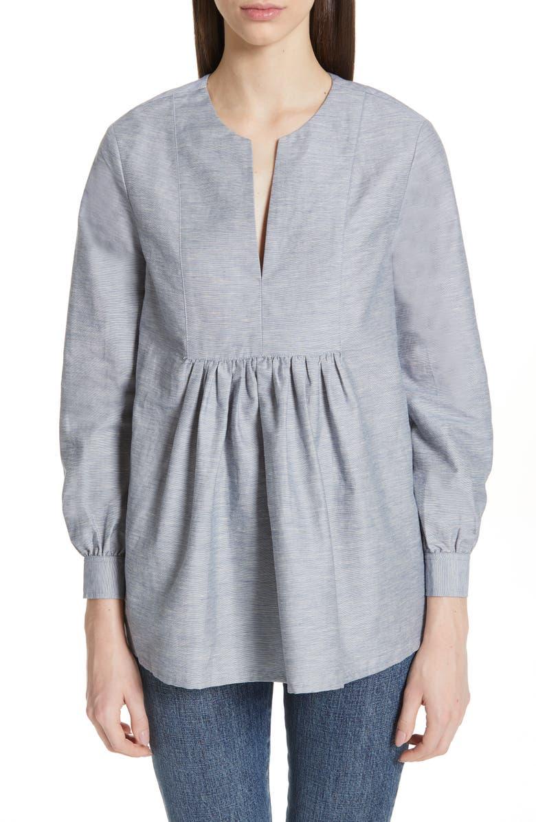 CO Cotton & Linen Blend Split Neck Blouse, Main, color, 400
