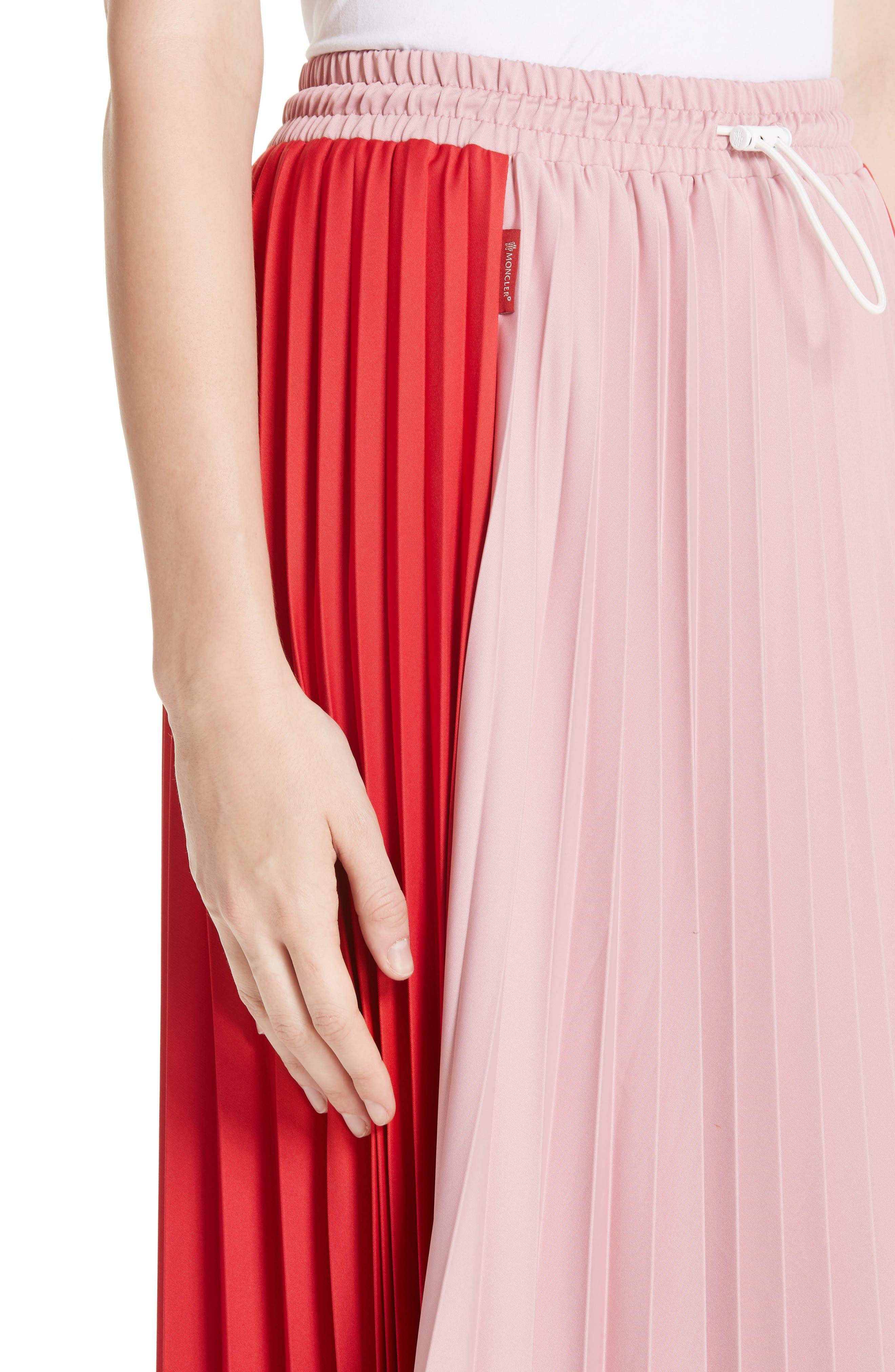 ,                             Colorblock Pleated Skirt,                             Alternate thumbnail 4, color,                             MEDIUM RED