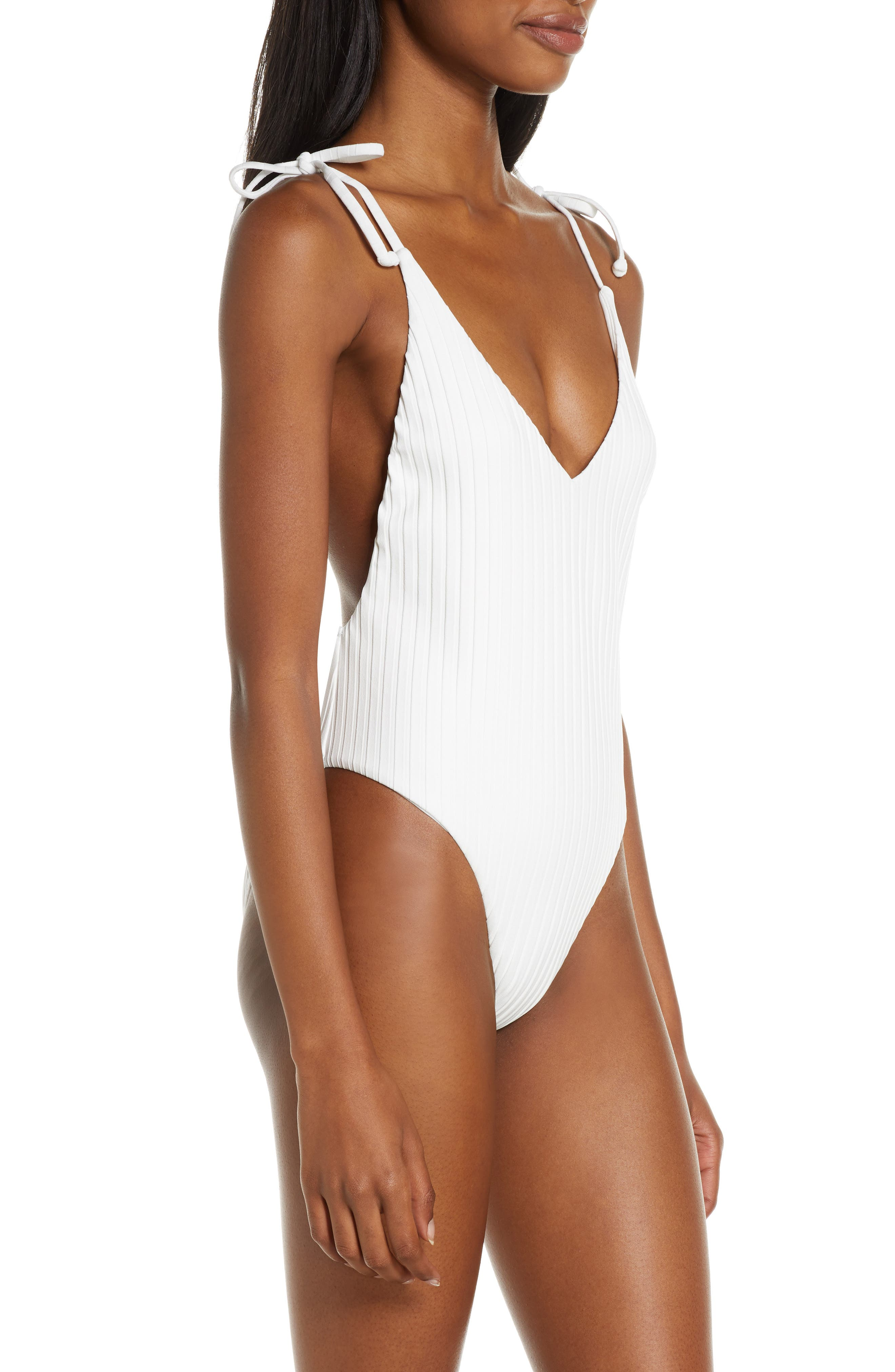 ,                             Sunny Rib One-Piece Swimsuit,                             Alternate thumbnail 4, color,                             WHITE