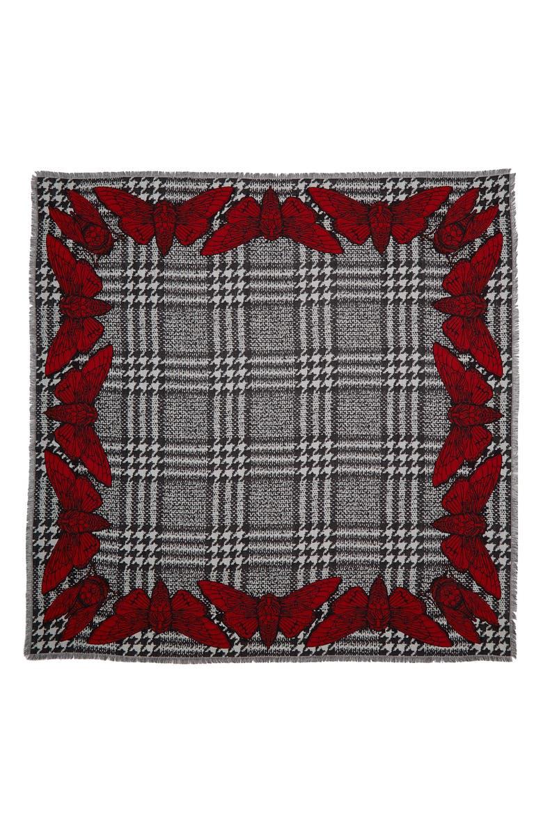 ALEXANDER MCQUEEN Tiger Moth Wool & Silk Jacquard Scarf, Main, color, 1074 BLACK/ RED