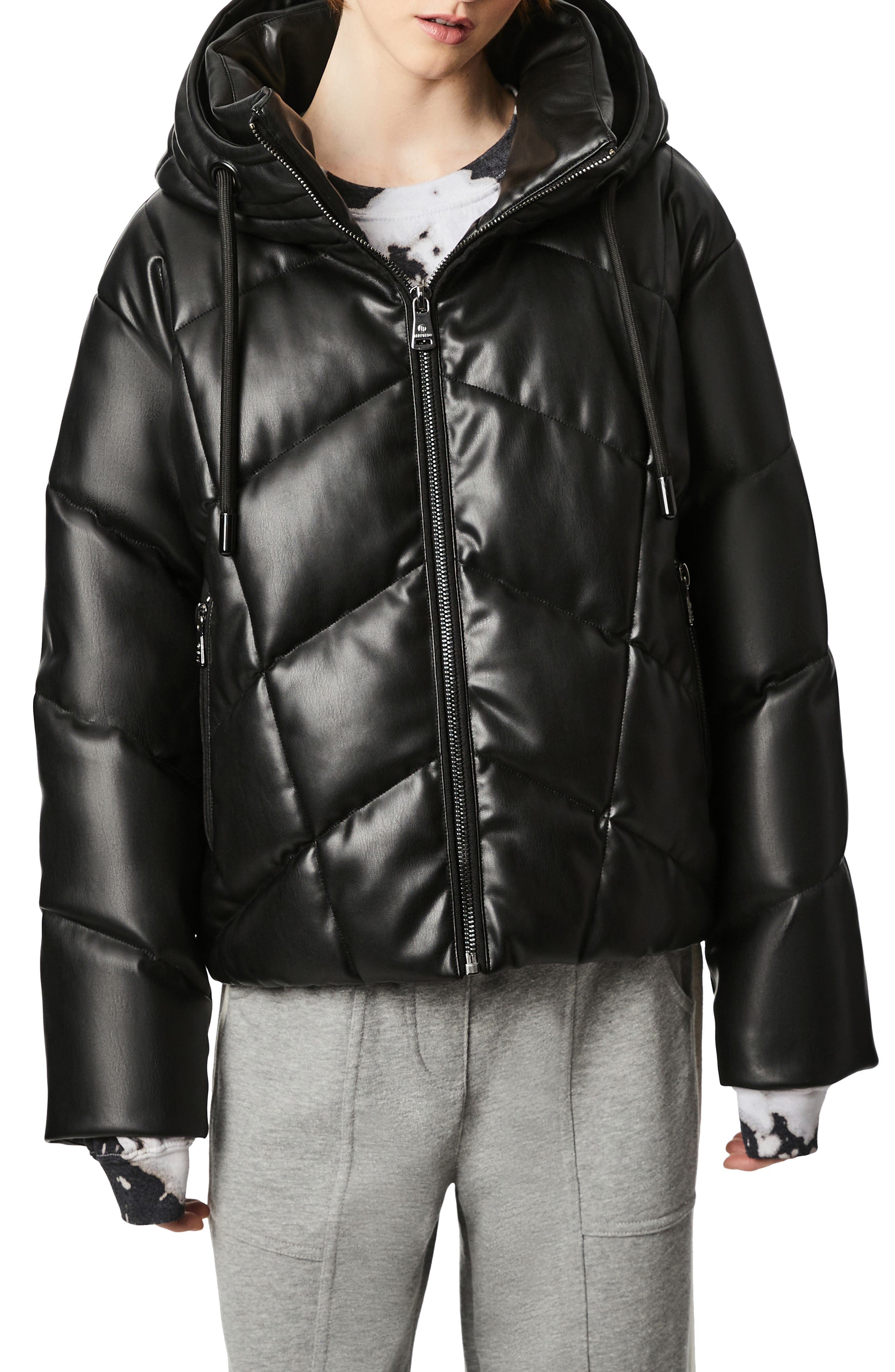 Faux Leather Hooded Puffer Coat
