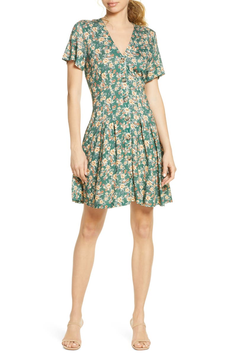 FRENCH CONNECTION Tahki Meadow Floral Jersey Dress, Main, color, 300