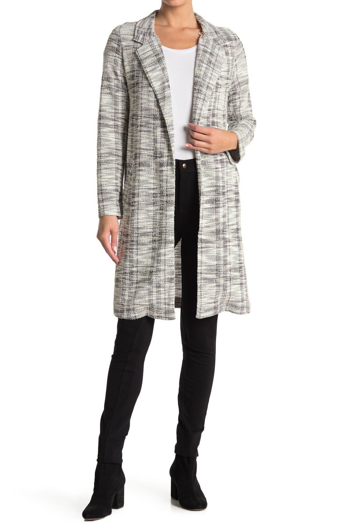 Image of MELLODAY Notch Lapel Long Knit Jacket