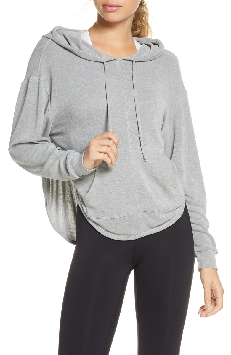 FREE PEOPLE FP MOVEMENT Back Into It Cutout Hoodie, Main, color, GREY COMBO