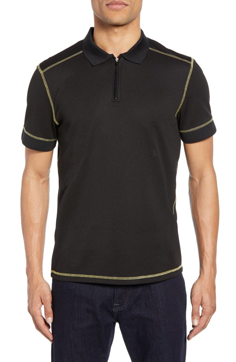 VINCE CAMUTO Slim Fit Mesh Zip Polo, Main, color, BLACK