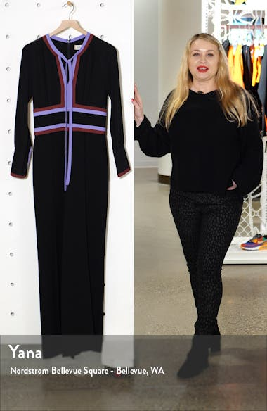Elkie Tie Neck Long Sleeve Jumpsuit, sales video thumbnail