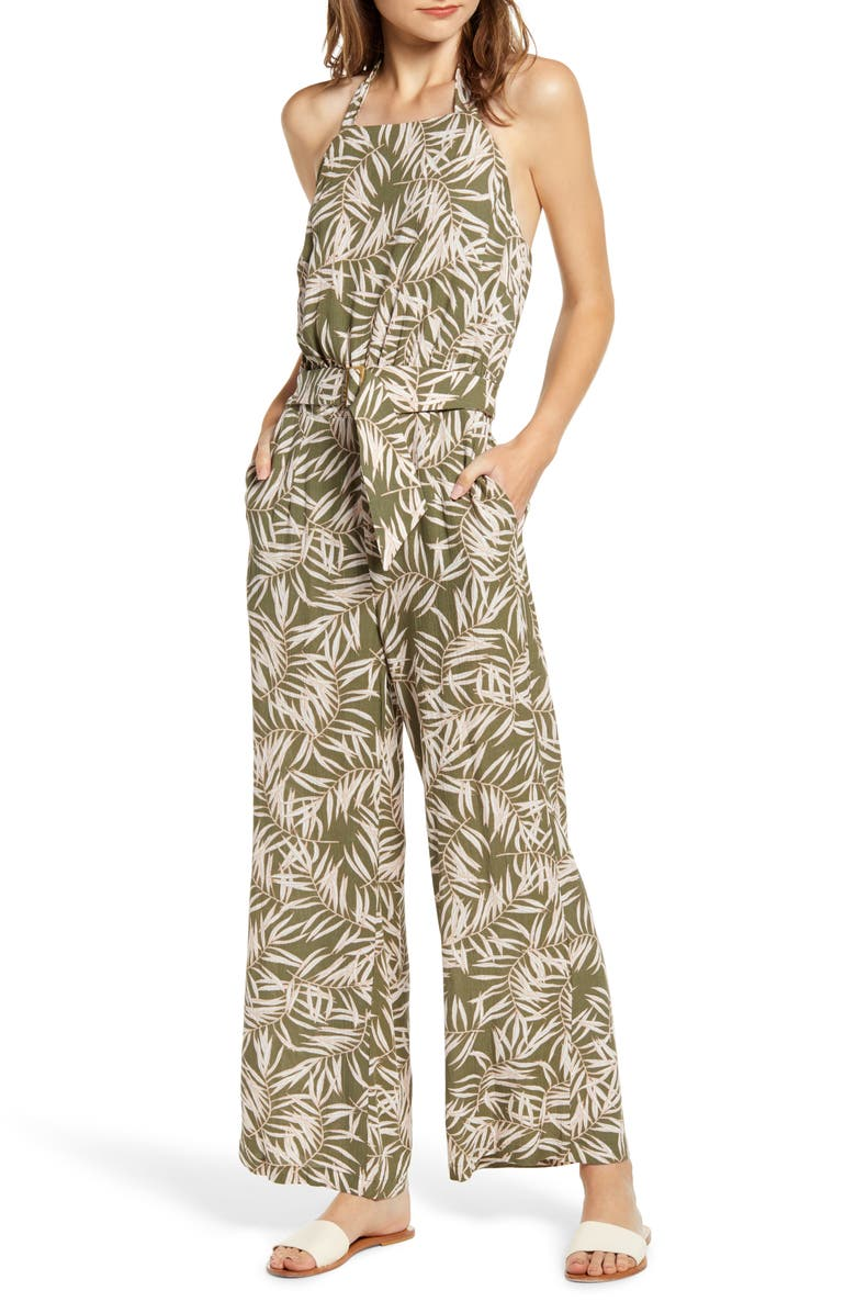 1.STATE Desert Palms Belted Halter Jumpsuit, Main, color, LUSH GRASS