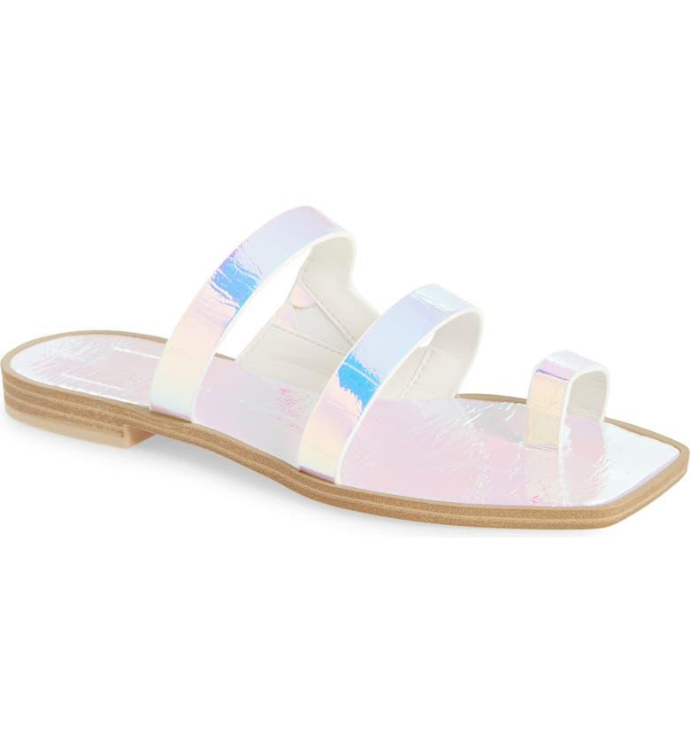 DOLCE VITA Isala 3 Croc Textured Slide Sandal, Main, color, SILVER IRIDESCENT