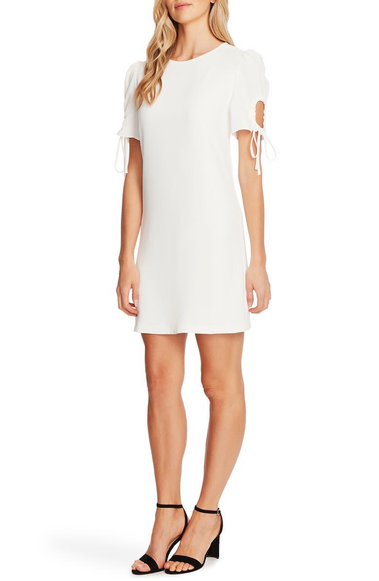 CECE Keyhole Puff Sleeve Crepe A-Line Dress, Main, color, SOFT ECRU