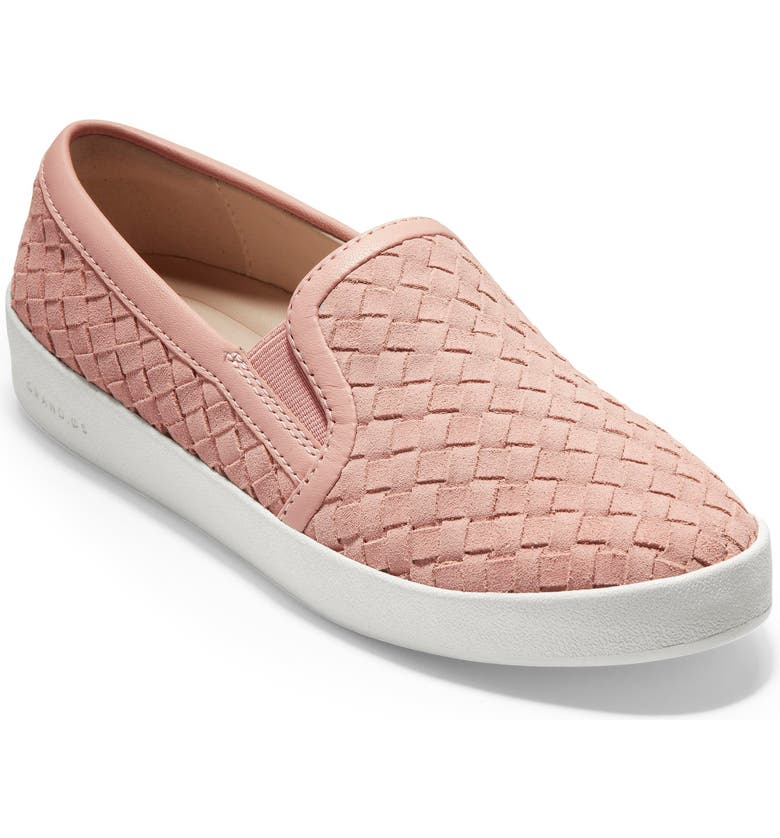 COLE HAAN GrandPro Woven Slip-On Sneaker, Main, color, ROSE WOVEN SUEDE/ LEATHER