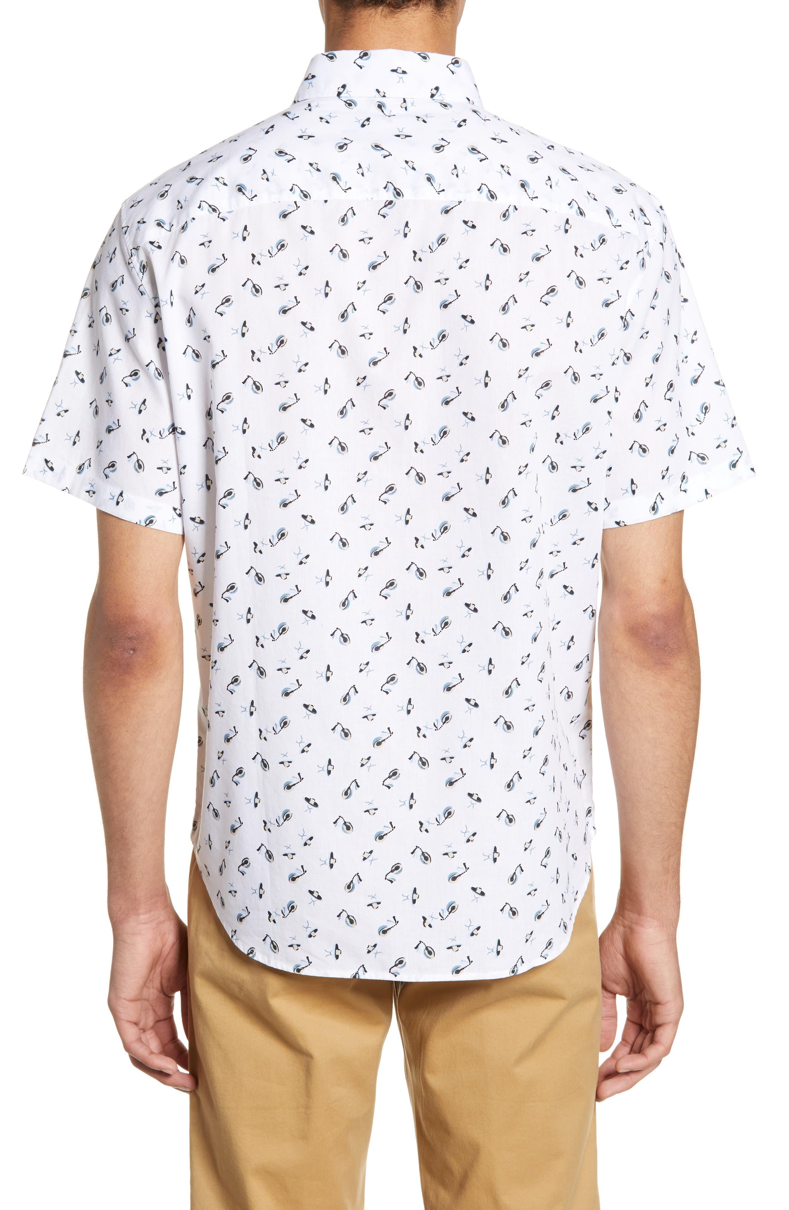 ,                             Slim Fit Sombrero Print Sport Shirt,                             Alternate thumbnail 3, color,                             WHITE MULTI