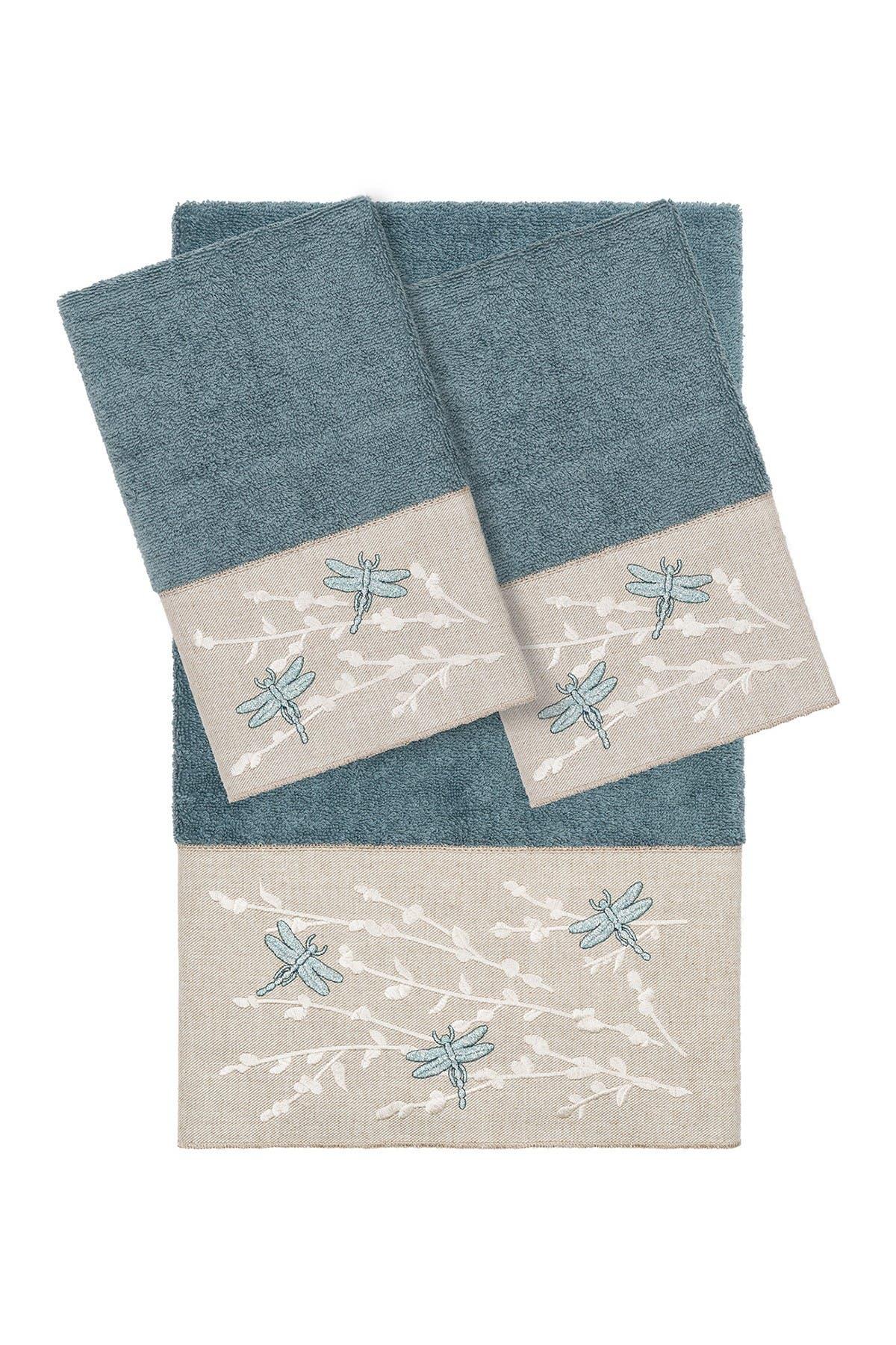Image of LINUM HOME Braelyn 3-Piece Embellished Towel - Teal