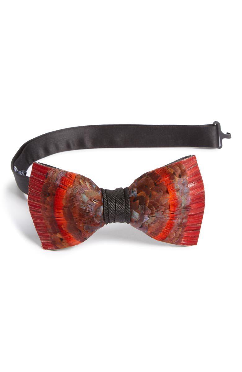 BRACKISH & BELL Etna Feather Bow Tie, Main, color, 800