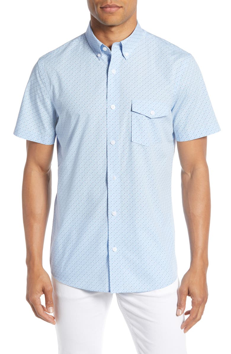 NORDSTROM MEN'S SHOP Nordstrom Mens Shop Trim Fit Micro Dot Shirt, Main, color, BLUE TEAL MICRO DOT