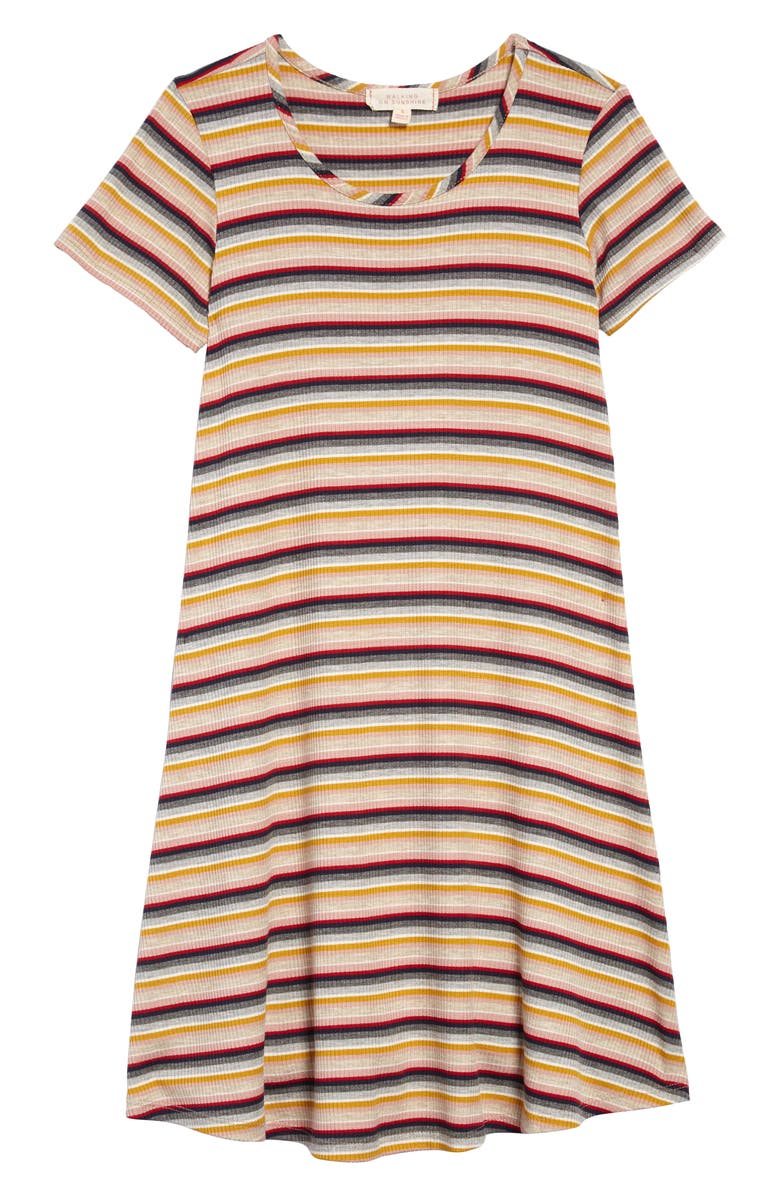 WALKING ON SUNSHINE Ribbed T-Shirt Dress, Main, color, MULTI