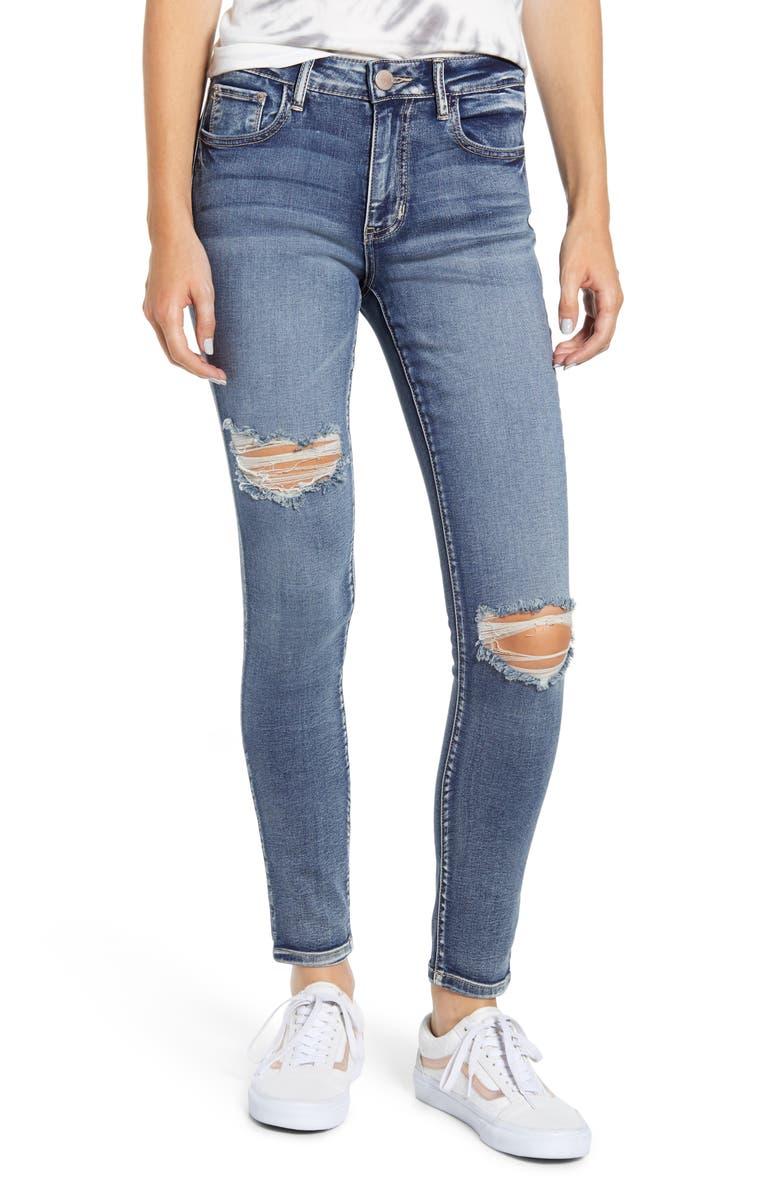 PROSPERITY DENIM Ripped Skinny Jeans, Main, color, BOYFRIEND WASH