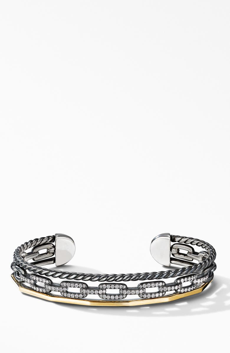 DAVID YURMAN Stax Three-Row Cuff Bracelet in Blackened Silver with Diamonds, Main, color, TWO TONE