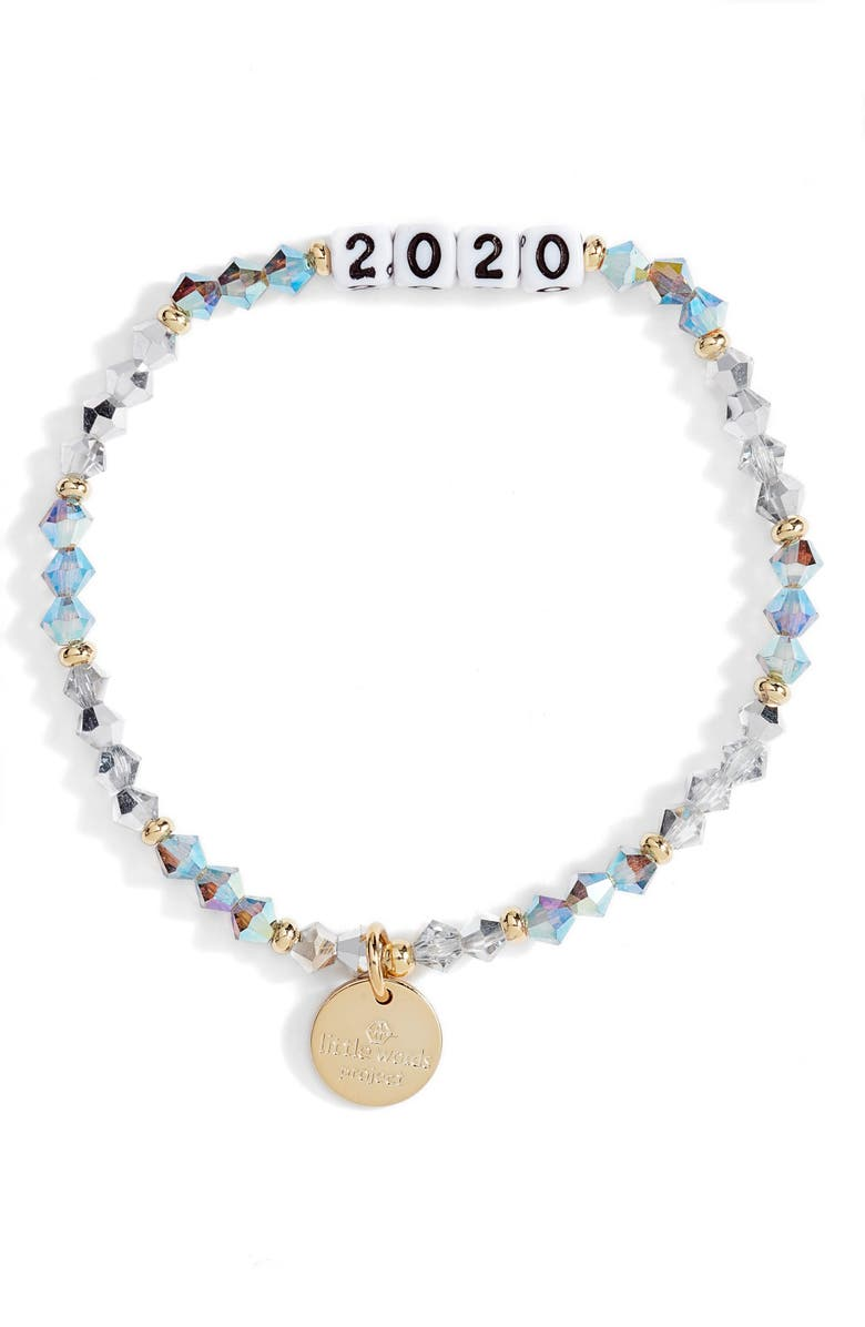 LITTLE WORDS PROJECT 2020 Beaded Stretch Bracelet, Main, color, TWINKLE CRYSTAL
