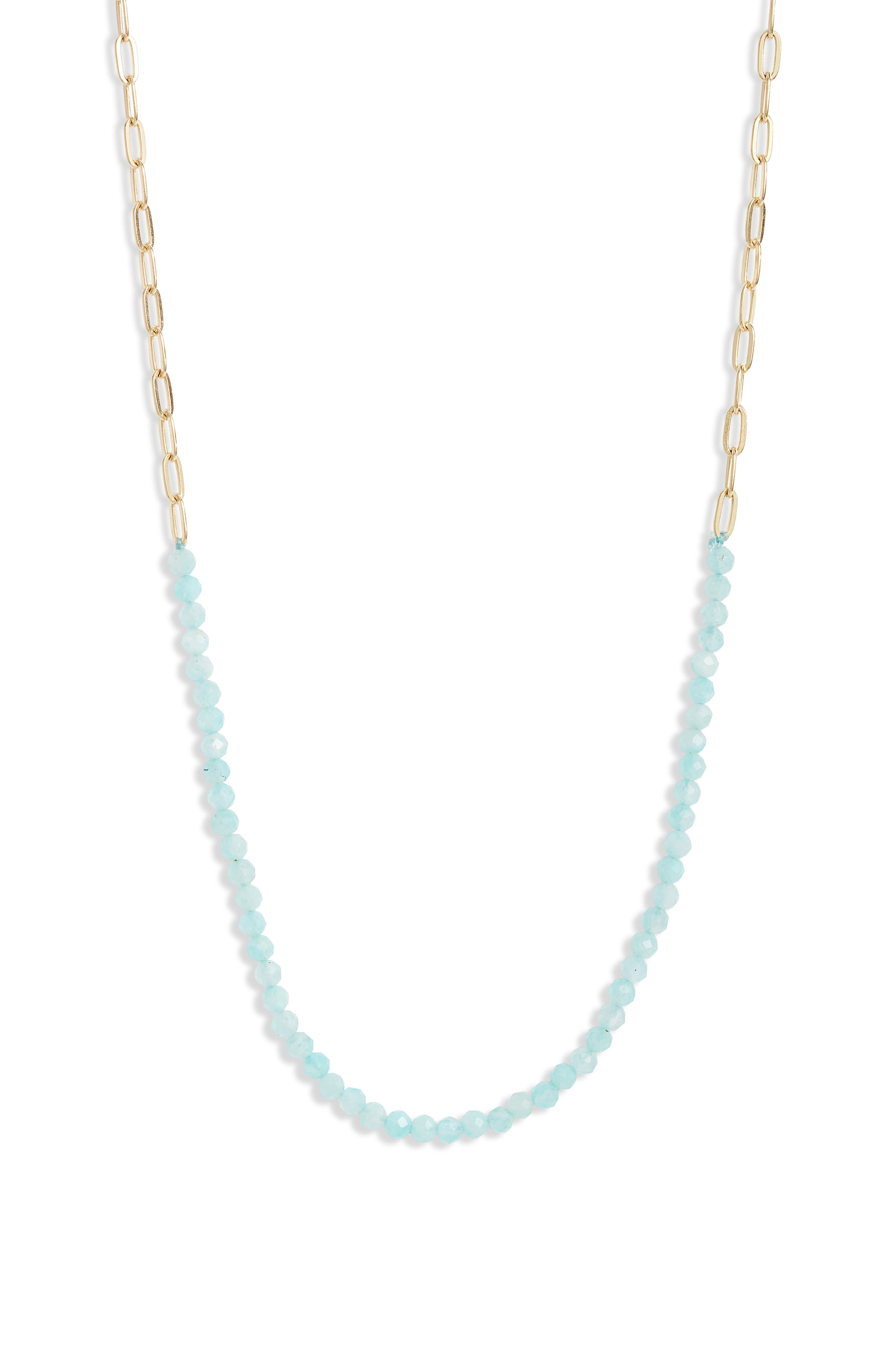 Paper Clip Chain & Stone Frontal Necklace