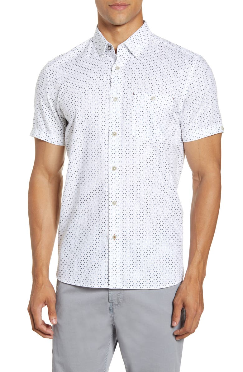 TED BAKER LONDON Slim Fit Triangle Print Short Sleeve Button-Up Shirt, Main, color, WHITE