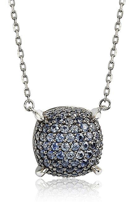 Image of Suzy Levian Sterling Silver Pave Sapphire & Diamond Accent Cluster Pendant Necklace
