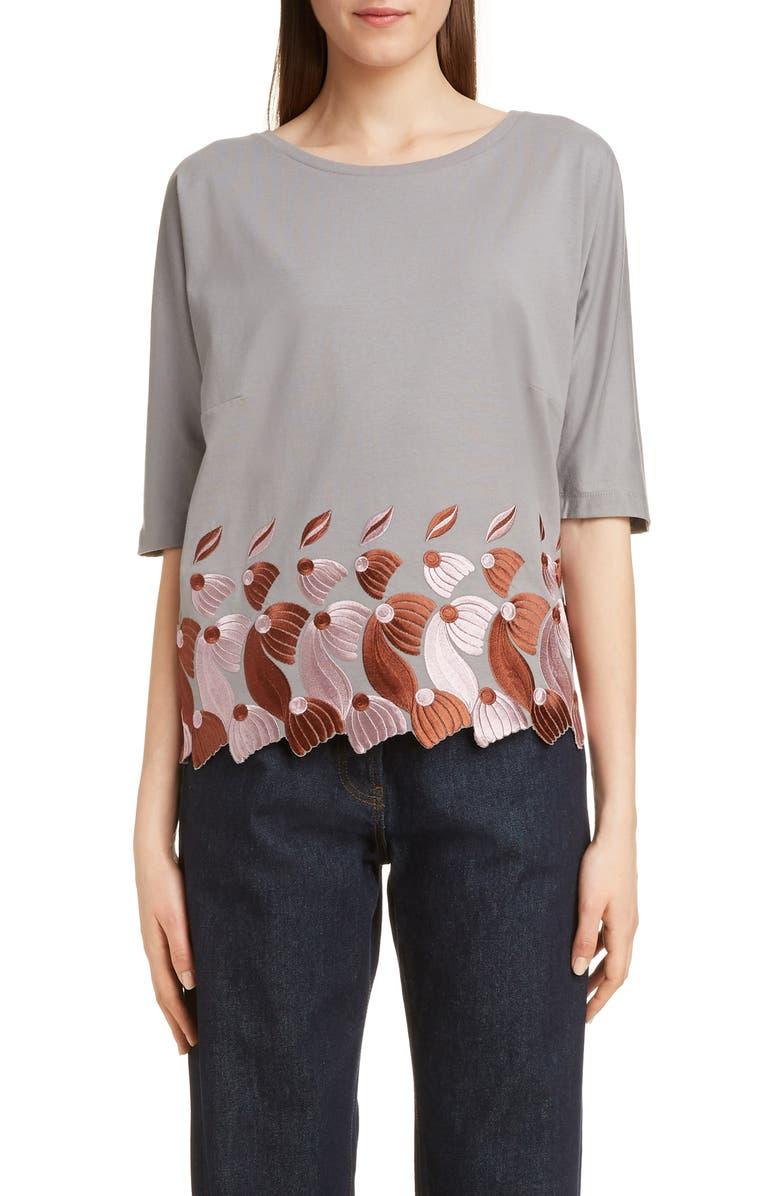 DRIES VAN NOTEN Hallet Embroidered Petal Top, Main, color, 020