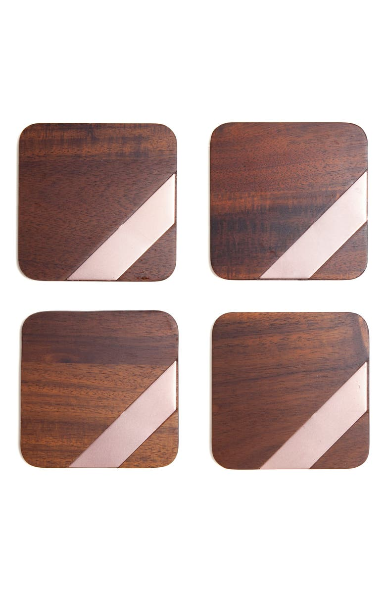 CORE HOME Set of 4 Wood & Copper Coasters, Main, color, 200