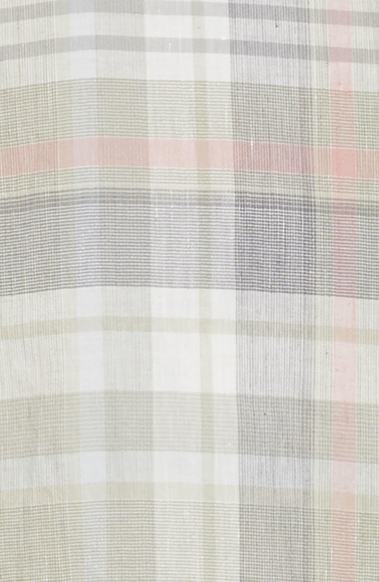 ,                             Slim Fit Plaid Linen & Cotton Sport Shirt,                             Alternate thumbnail 6, color,                             SAGE