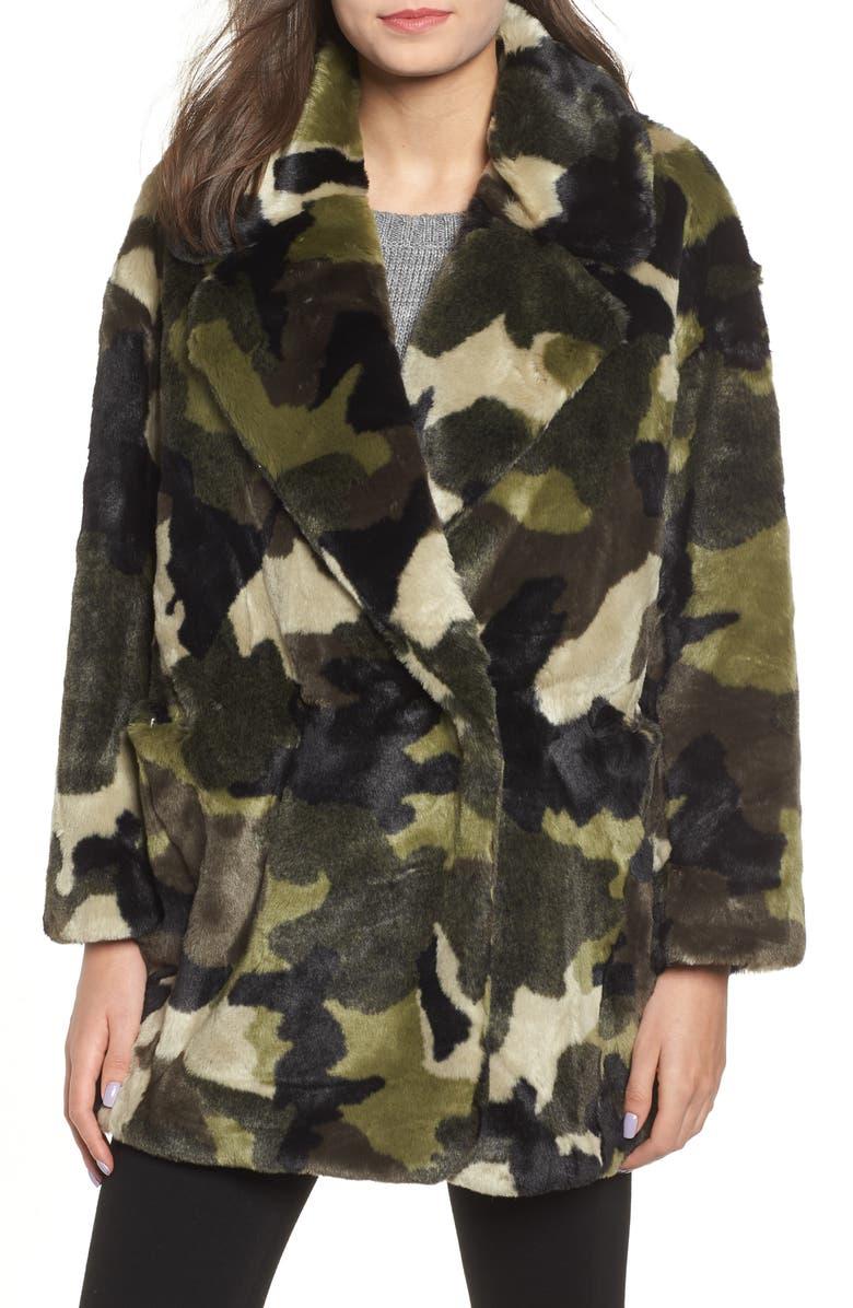 NVLT Camo Print Faux Fur Coat, Main, color, 301