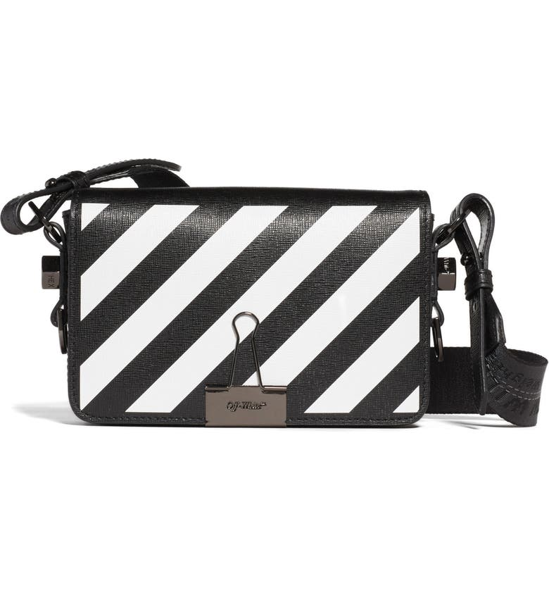 OFF-WHITE Diagonal Stripe Mini Flap Bag, Main, color, BLACK WHITE